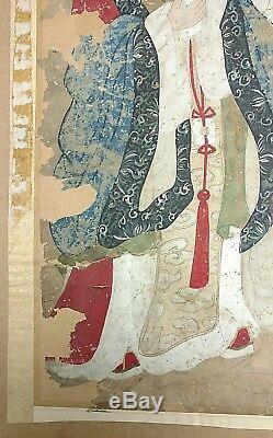 Antique Ming 21in Chinois Ou Qing Guan Yin Immortal Rouleau De Peinture Pour Restaurer