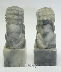 Antique Paire Chinese Export Fignoler Stéatite Foo Dog Bookends