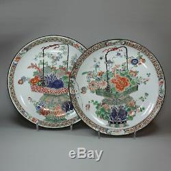 Antique Paire De Famille Chinoise, Verte Plaques Kangxi (1662-1722)
