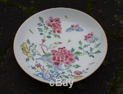 Antique Plaque De Porcelaine Chinoise Yongzheng Rose Famille