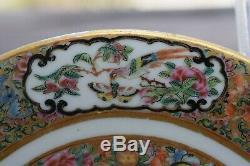 Antique Plaque Mandarin Rose Chinoise, Milieu Du 19ème Siècle
