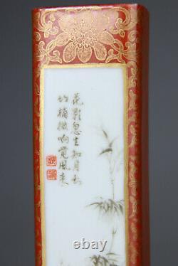 Antique Porcelaine Chinoise Famille Rose Weight Gilt Qianlong Mark Vase 19ème