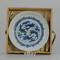 Antique Porcelaine Chinoise Ming Wanli 16 / 17c Éclisse Carpe