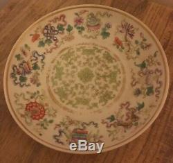 Antique Porcelaine Émaillée Soucoupe Chinoise Tongzhi 6 Caractères Mark