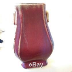 Antique Porcelaine Poterie Chinoise Vase Sang De Boeuf Flambés Pot Brosse Fang Hu
