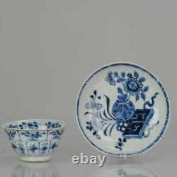 Antique Qianlong Bleu Et Blanc Tea Bowl Fleur Marqué Chine Chine Porcelaine