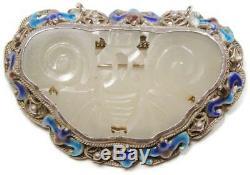 Antique Qing Chinois Sculpté Jade Argent Filigrane Émaillé Bat Shou Pin Pendentif