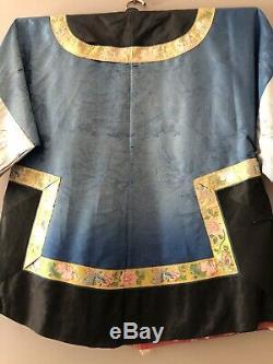 Antique Qing Dynastie Chinoise En Soie Brodée Robe Bleu Noir 1920