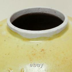 Antique Qing Dynastie Chinoise Jaune Wang Bingrong Ginger Jar Personnage Seal Mark