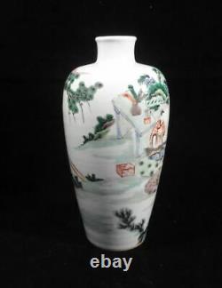 Antique Rare Chinese Famille Verte Bouteille De Porcelaine Vase Kangxi Mark
