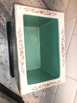 Antique République Chinoise Famille Rose Porcelaine Planters D'or Faisans Oiseaux
