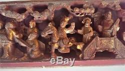 Antique Sculpté À La Main En Laque Chinoise En Bois Doré Chiffres Sculpture Panneau Xixe