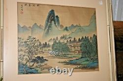 Antique Signé Peinture Japonaise Sur Soie Paysage Village Art Asiatique Chinoise Vtg