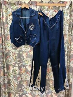 Antique Vintage 1920 Asie Soie Brodé Set Chinois En Pyjama Bleu Et Blanc
