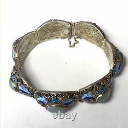 Antique Vintage Asiatique En Argent Sterling Et Émail Filigrane Néphrite Bracelet Jade