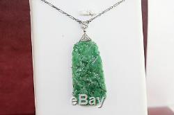 Antique / Vintage Carved Chinois Jadeite Jade Platinum Diamants Collier Pendentif