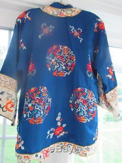 Antique Vintage Chinois Kimono Robe Toute Soie Brodé Sz M / L Pristine