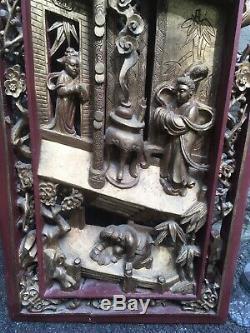 Antique Vintage Chinois Profond Sculpté En Bois Suspendu Art Mural Panneau Grand