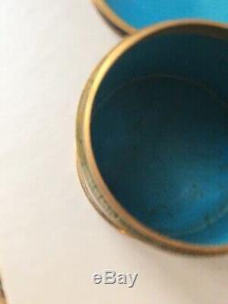 Antiques Chinese Midnight Blue Box Cloisonnée Humidor Trinket Pot Cercueil