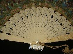 Antiques Chinois Mandarin Export Fan Dans La Boîte Originale Laque, Vers 1850