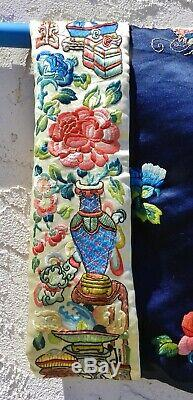 Antiques Soie Chinoise Robe Forbidden Point De Broderie C. 1900