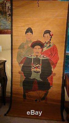 Antiquité 19c Rare Aquarelle Chinoise Défilement Long Peintureemperor Et Sa Famille