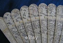 Antiquité Ancienne Sculptée, Canton Chinois, Éventail, Ventilateur, Exportation, Eventail, Qing