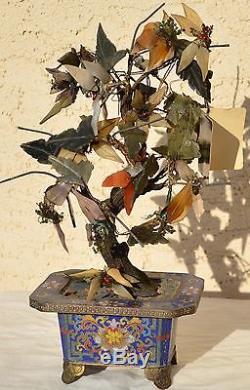 Antiquité Asiatique Chinois Oriental Sculpté Arbre Fleur De Feuille De Jade Avec Planteur Cloisonné