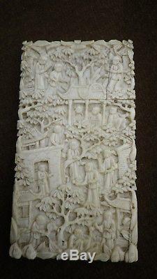 Antiquité Cantonaise Sculpté À La Main Oriental Chinois Carte Scène Rural Scènes
