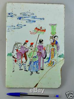 Antiquité Chine Chine Porcelaine Famille Rose Carrelage Peinture Qing Queen 19ème C # 3
