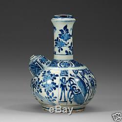 Antiquité Chine Chinoise Wanli Ming Kendi Bleu Blanc En Porcelaine 1572-1620