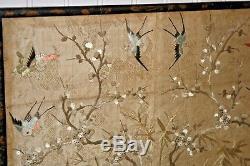 Antiquité Chinois Broderie De Soie Oiseaux Papillons Japonais Panneau Brodé # 2