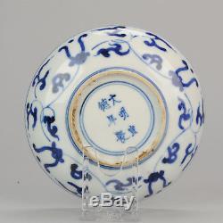 Antiquité Chinoise 17ème Xuande Marquée Assiette Ko Sometsuke Transitionnel Ming