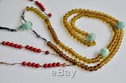 Antiquité Chinoise Chine Couleur Qing Peking Glass Court Collier Perle 1900