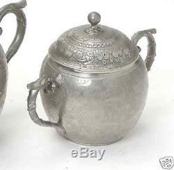 Antiquité Chinoise Exportation De La Chine En Étain Service À Thé Plateau Bol Crémier Plateau 1900