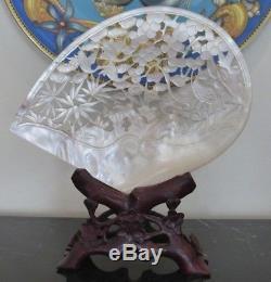 Antiquité Chinoise Sculptée Mère De Scène De Grues De Coquillage De Perle Sur Le Stand