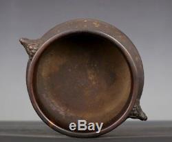 Antiquité Chinoise Têtes Foodog Brûleur D'encens En Bronze Encensoir Marqué Xuande Ab012