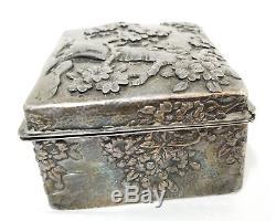 Antiquité Japonaise Ou Chinoise Repousse De Bijoux Boîte À Fleurs En Argent