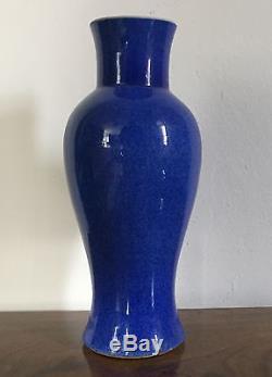 Antiquité Vase Chinois En Porcelaine Poudre Monochrome Bleu Balustre 19ème Kangxi
