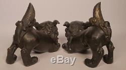 Antiquités Paire De Bronze Chinois Foo Dogs Imperial The Guardian Lions