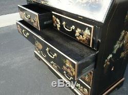 Asiatique Vintage Noir Laque Chinoise Chinoiserie Secrétaire Bureau Hutch Peinture À La Main