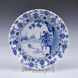 Assiette En Porcelaine Chinoise De Kangxi Bleu Et Blanc Plaque Marquée