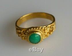 Bague En Jade Jadéite En Or Massif 24k, Dynastie Qing, Chine, 4,5 G, Très Fine