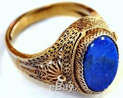 Bague Filigrane Taille 7 En Argent Doré À L'or Fin Et Lapis Lazuli