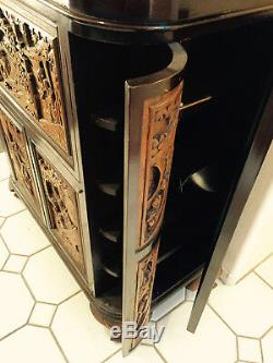 Barre En Bois De Camphre Sculpté Antique Chinois, Cabinet, Dragons, Scènes De Cour