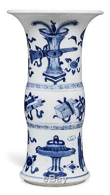 Beau Vase Antique Chinois Et Bleu Gu De Christies D'époque Kangxi