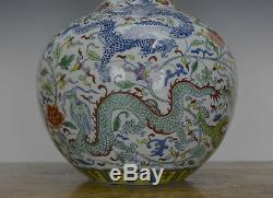 Beau Vase Chinois En Porcelaine Globulaire Dragon De Couleur 9 À Doucai