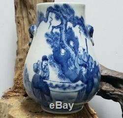 Beaux Chinois Bleu Et Blanc Double Oreilles Vase En Porcelaine