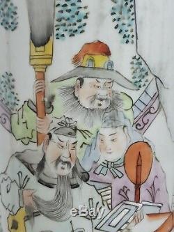 Beaux Chinois Familie Rose Vase En Porcelaine. Tube Chapeau