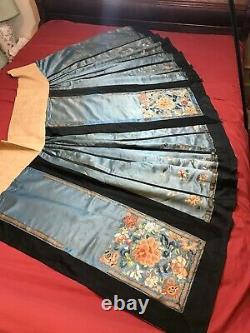 Belle Antique Qi'ing Chinois Main Brodée Femme Jupe En Soie Broderie